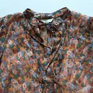 Lucky Brand Ditsy Floral Popover Blouse